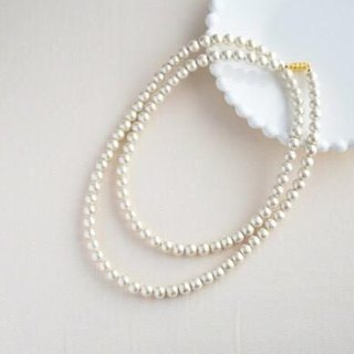 Cotton pearl long necklace (kisuka) magnet