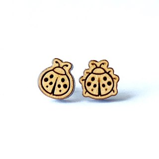 Plain wood earrings-ladybirds