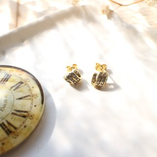 Simple classic- Zircon brass earrings