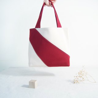 Hand made irregular stitching color block personality small tote bag - berry red spot
