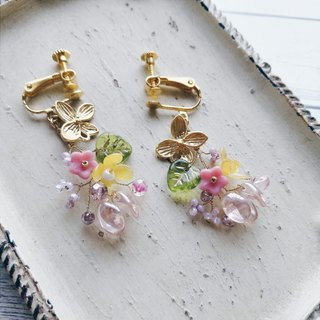 Momolico peach lily earrings small bouquet lucky changeable clip