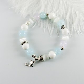 Dolphin and marine natural stone silver bracelet │ blue and white 玥 unicorn gift lover