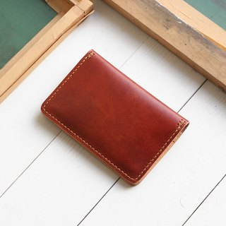 Rustic coffee red hand dyed yak leather handmade passport holder