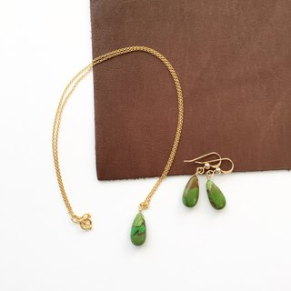 Copper green turquoise Necklace and Hook-earring 14kgf, set-up
