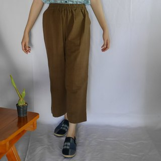 hand-woven cotton fabric long pants (light brown)