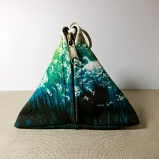 Triangle watercolor canvas purse - Gradient Green