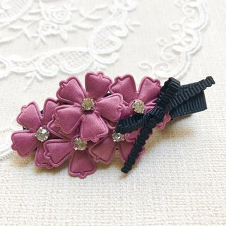 Fresh flower bangs hairpin / purpleberry