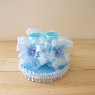 Ocean Blue Ribbon Wedding Pen Holder