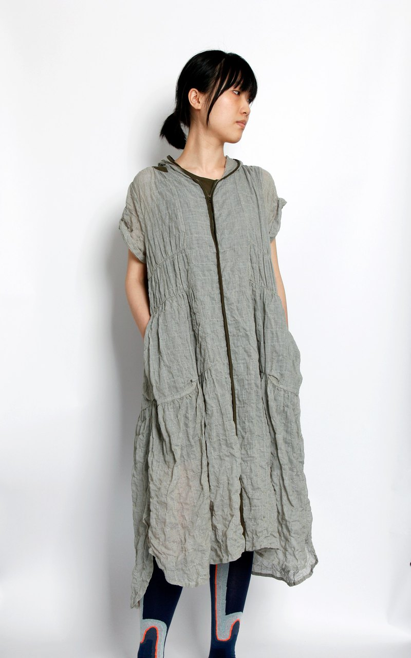 Sea_seaweed forest short-sleeved hooded dress