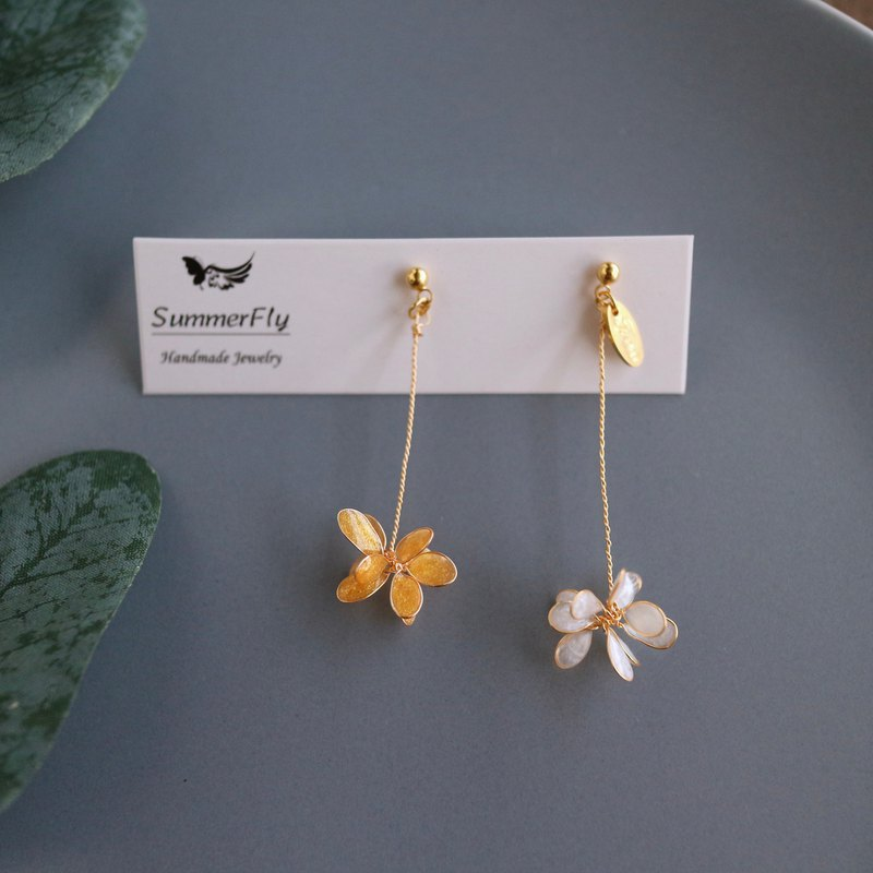 [Special Offer] 14k Gold Filigree Fireworks Hand Wound Asymmetric Flower Drop Earrings
