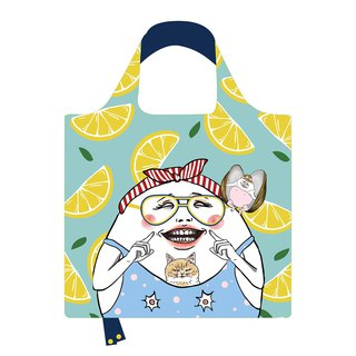 Lemon Eggheads Eco bag. Reusable shopping bag. Foldable bag.
