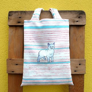 Striped Ti Tuote hand bag - white American Shorthair