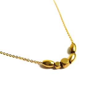 Ficelle | handmade brass natural stone necklace | [beads] Brass 18K gold clavicle chain