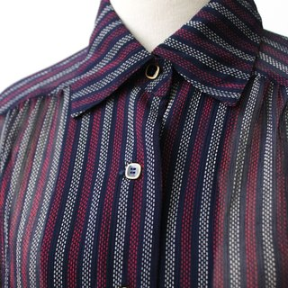 【RE0916T186】 early autumn Japan retro geometric little bit of dark blue ancient shirt