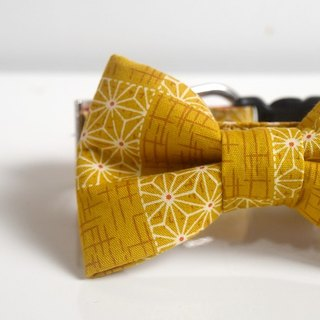Patchwork Kimono Hemp Leaves Bow Tie Dog Collar - Mustard Size Small