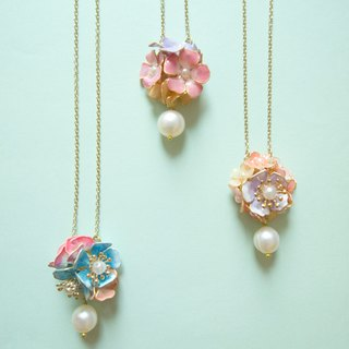 Aramore three-dimensional half flower ball hanging freshwater pearl necklace