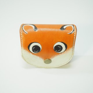 Big-eyed little fox leather coin purse