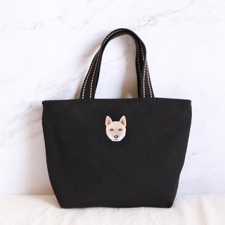 Jindao dog embroidery green tote bag handbag