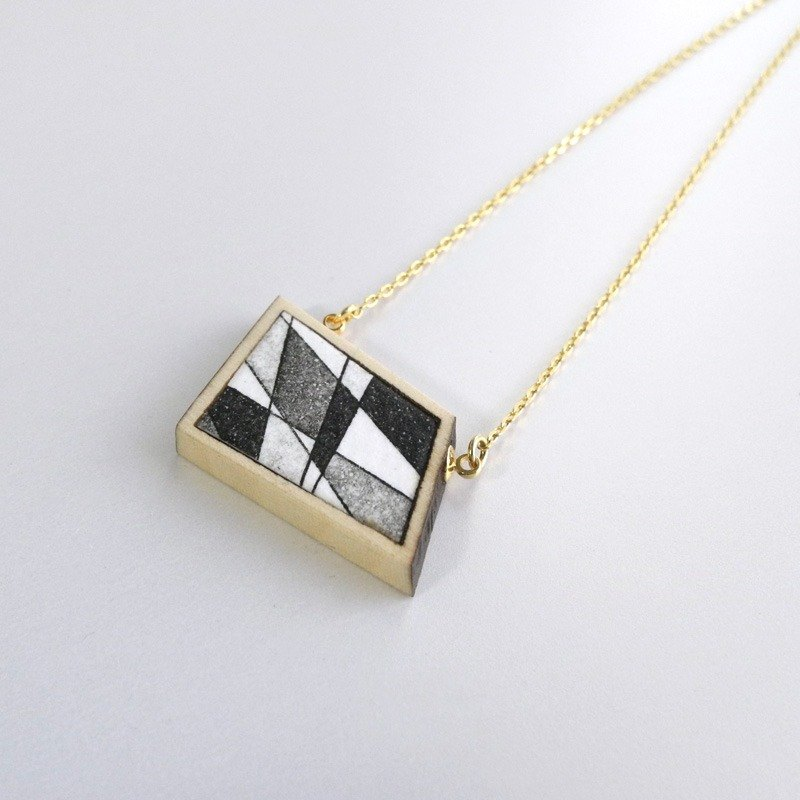 The necklace of etching print and wood <The pieces of ores / Black> -B-