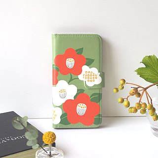Notebook type phone case - Camellia Japonica -