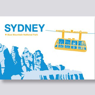 little ship Travel Illustration Postcards Sydney Series │ Blue Mountains Blue Mountains