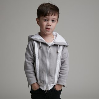 Cut hooded jacket (gray)