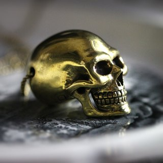 Big Size Human Skull Charm Necklace by Defy / Charm Jewelry / Brass Pendant.