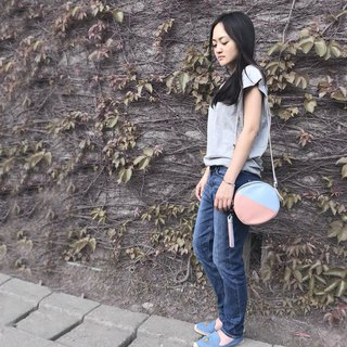 Camera Bag-sky blue/greyish pink