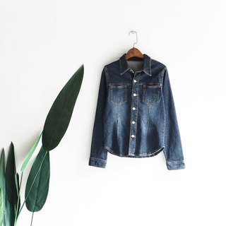 Shizuoka brush color stereo waist autumn log antique cotton denim shirt jacket coat shirt