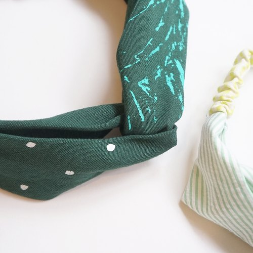 "YInke ""You loveliest"" - dark green mountain ridge snow handmade silk print elastic hair bands"