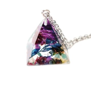 Colour Freak Studio Purple Blue Dried Flower Necklace / Pyramid Triangle pendant / Flower In Ice Series
