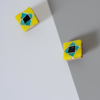 Stained Glass Mosaic Stud Earrings/Ear clips Handmade Exaggerated Contrast Geometric Pattern