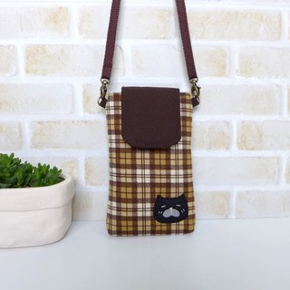 丫喵Mobile phone bag-coffee plaid fabric (with strap)