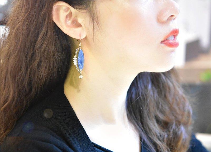 天然藍晶石14K合金良緣耳環