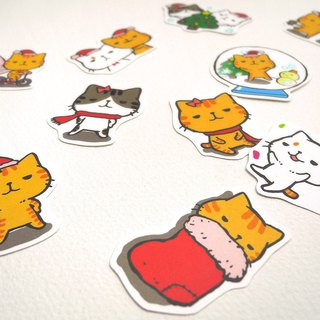 Little cat and cat waterproof stickers set (Christmas)