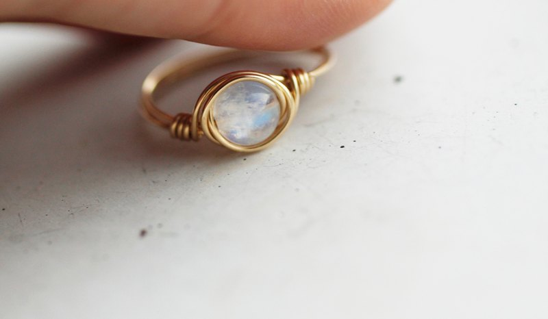 9298f1cd9 Birthstone in June - Buy 1 Get 1 Free 6mm Indian Ice Blue Moon - 14K Gold  Ring - Designer World Smells Different After It Rains | Pinkoi