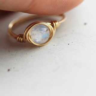 6mm Indian Ice Blue Moon - 14K Gold Ring (14KGF) Gold