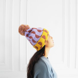 studio chiia Knit Beanie - Half Moon - Yellow