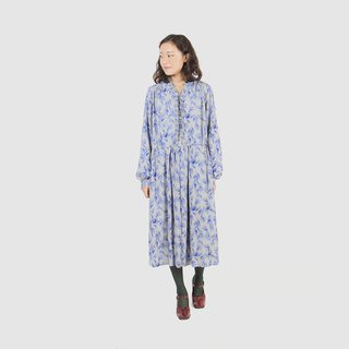 [Egg plant ancient] Lanyang flower print vintage dress
