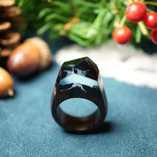 [handmade custom] iron knife wooden snow mountain wood rings tiny snow mountain at Night with iron wood