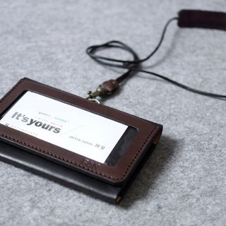 YOURS handmade leather goods horizontal double certificate folder + double cell card (including adjustable neckband) deep wood + personality black leather