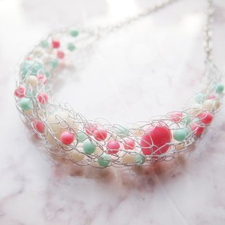 Fresh white elastic copper line with pink pearl necklace N136