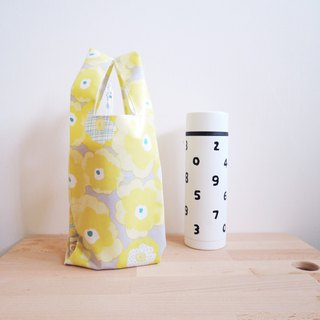 green bag for drinks - Yellow flower