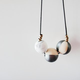 WOODEN MARBLE NECKLACE- ash flash circle brass necklace / handmade handmade / gift ornaments