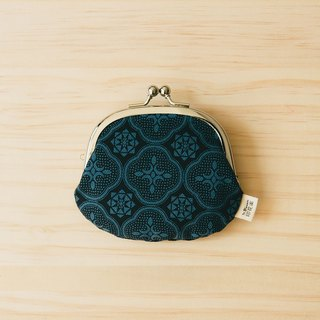 "2.6"" Clasp Frame Bag/Begonia Glass Pattern/Midnight Navy"