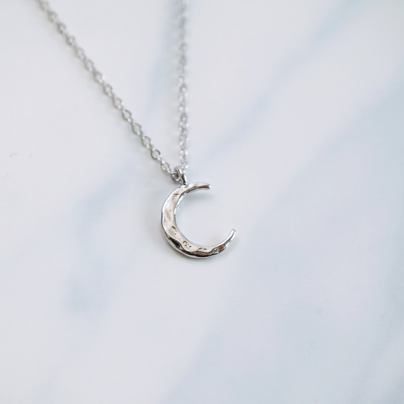 Silver Hammered Crescent Moon Necklace | 925 Sterling Silver