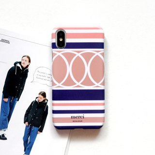 Pink orange blue striped European style mobile phone case