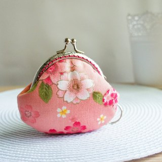Lovely and wind cherry blossom butterfly gold coin purse, pink