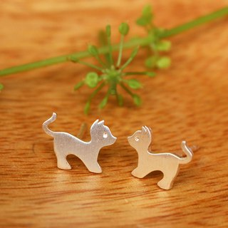 Yoga Cat - ต่างหูแมวโยคะ - Handmade Silver Earrings / Earrings / 貓 / 銀 / 耳環