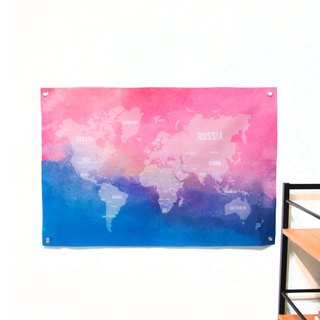 Customized World Map Hanging Dark Pink Blue 幔